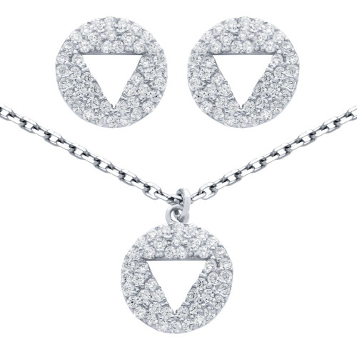 "RHODIUM PLATED SET: CUTOUT TRIANGLE ON CZ DISK STUD EARRINGS AND 16+2"" NECKLACE"