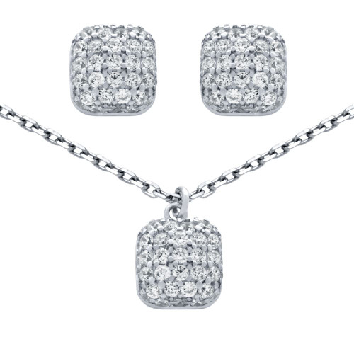 "RHODIUM PLATED SET: CUSHION-SHAPE CZ PAVE POST EARRINGS AND 16+2"" NECKLACE"