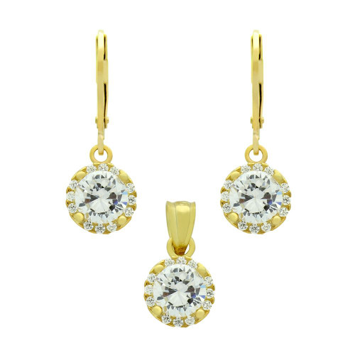 GOLD PLATED SET: 6.5MM ROUND CZ EARRINGS AND PENDANT WITH CZ HALO FISH HOOK DANGELING