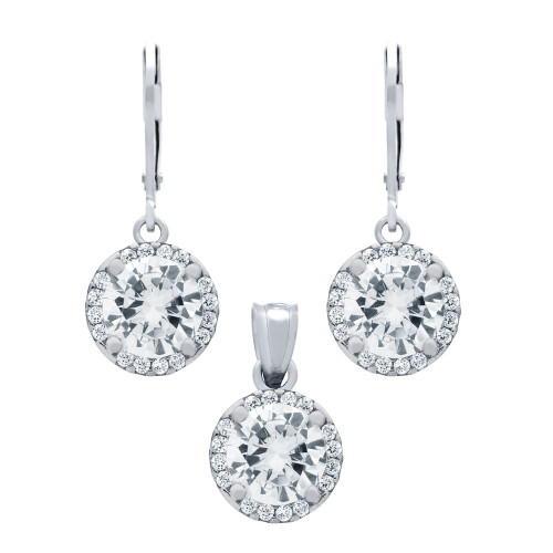 RHODIUM PLATED SET: 7.5MM ROUND CZ EARRINGS AND PENDANT WITH CZ HALO FISH HOOK DANGELING