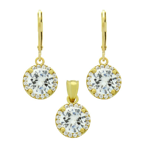 GOLD PLATED SET: 7.5MM ROUND CZ EARRINGS AND PENDANT WITH CZ HALO FISH HOOK DANGELING
