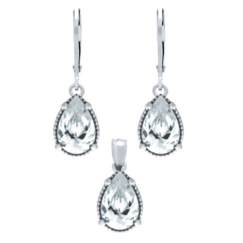 RHODIUM PLATED SET: 9MM TEARDROP CZ EARRINGS AND PENDANT