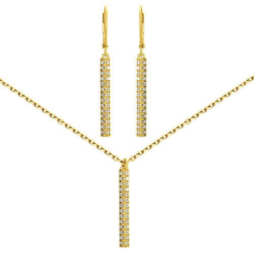 "GOLD PLATED SET: 25MM LONG DOUBLE-ROW CZ PAVE BAR EARRINGS AND 16+2"" NECKLACE"