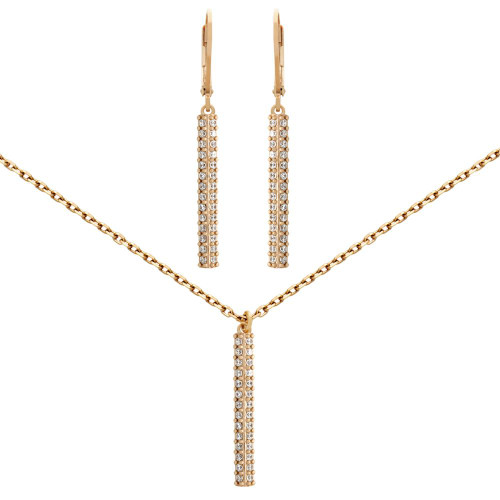 "ROSE GOLD PLATED SET: 25MM LONG DOUBLE-ROW CZ PAVE BAR EARRINGS AND 16+2"" NECKLACE"