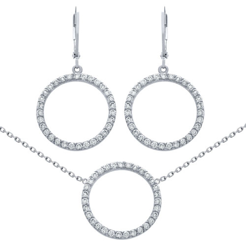 "RHODIUM PLATED SET: 18MM CZ ETERNITY CIRCLE EARRINGS AND 16+2"" NECKLACE"
