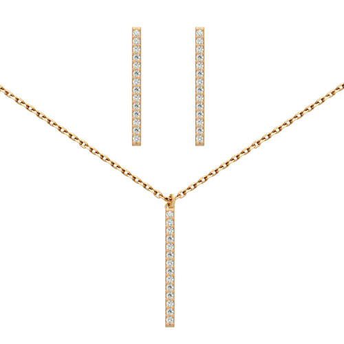 "ROSE GOLD PLATED SET: 23MM LONG CZ PAVE BAR EARRINGS AND 16+2"" NECKLACE"