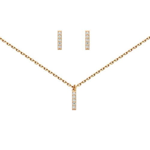 "ROSE GOLD PLATED SET: 10MM LONG CZ PAVE BAR EARRINGS AND 16+2"" NECKLACE"