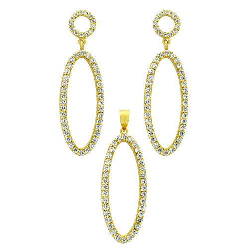 GOLD PLATED SET: OVAL SHAPED OUTLINE CZ PAVE EARRINGS AND PENDANT