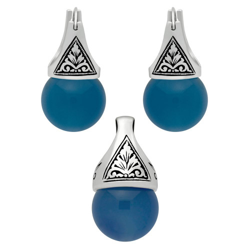 STERLING SILVER SET: BLUE AGATE EARRINGS AND PENDANT