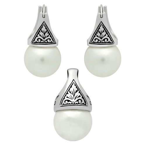 STERLING SILVER SET: PEARL EARRINGS AND PENDANT