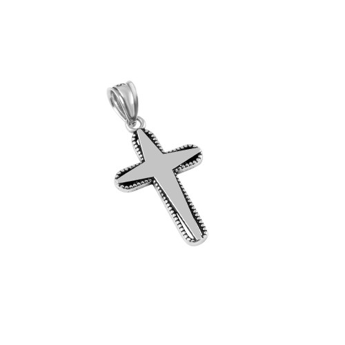 STERLING SILVER 15MM STYLIZED TAPER-DESIGN CROSS PENDANT