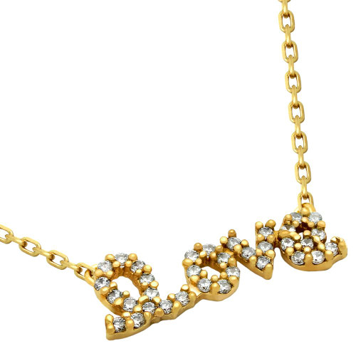 """GOLD PLATED CZ LOVE NECKLACE 16""""+2"""" ADJUSTABLE"""