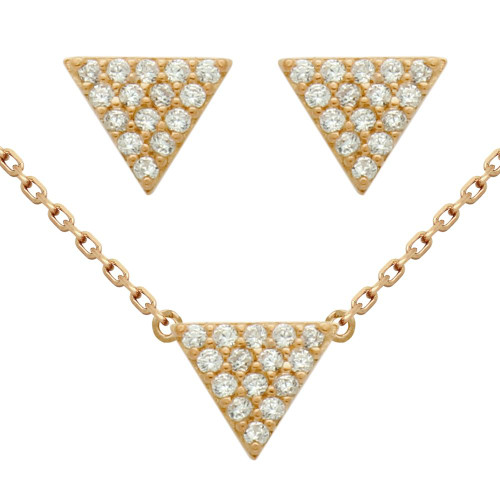 "ROSE GOLD PLATED SET: 5MM TRIANGLE CZ PAVE EARRINGS AND 16+2"" NECKLACE"