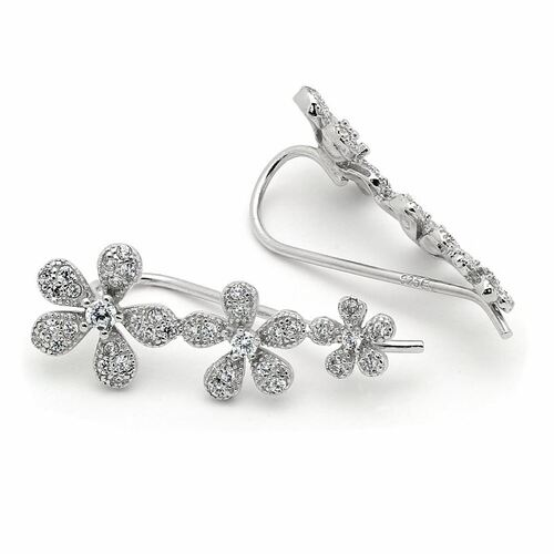 RHODIUM PLATED CZ CRAWLER EARRINGS WITH 9MM FLOWERS