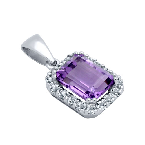 EMERALD-CUT GENUINE AMETHYST PENDANT WITH LARGE WHITE TOPAZ HALO