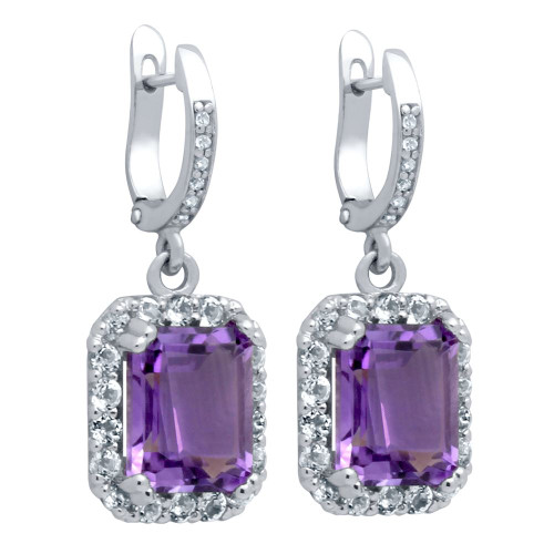 EMERALD-CUT GENUINE AMETHYST EARRINGS WITH LARGE WHITE TOPAZ HALO
