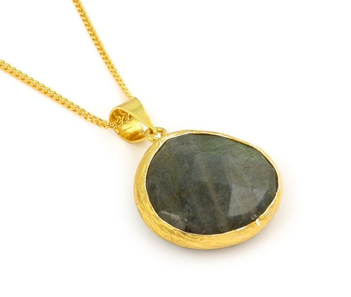 "GOLD PLATED STERLING SILVER AND LABRADORITE 16""+2"" ADJUSTABLE"