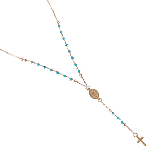 """ROSE GOLD PLATED TURQUOISE ROSARY NECKLACE 18"""" + 2"""""""