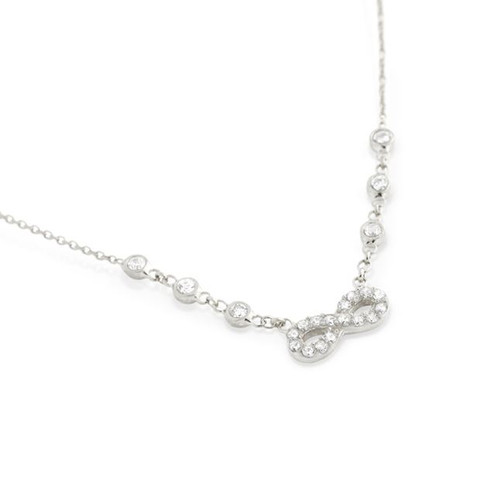 """RHODIUM PLATED CZ INFINITY NECKLACE IN 16"""" + 2"""""""