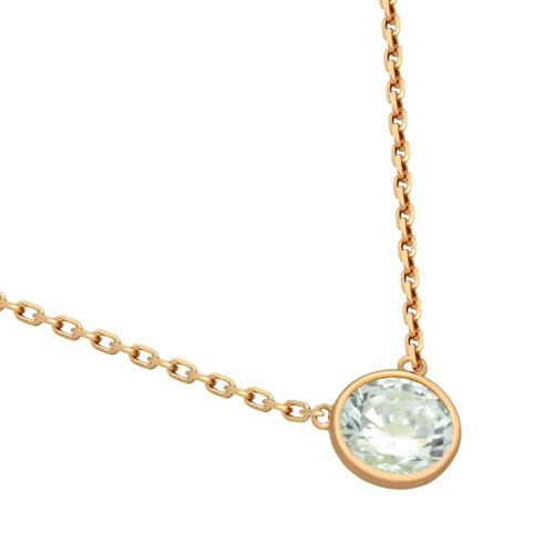 "ROSE GOLD PLATED 6.5MM CZ STONE ON NECKLACE 16"" + 2"""