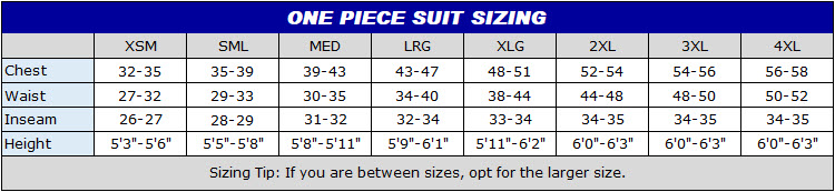 PROFOX One piece race suit size chart