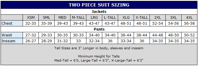 Sizing chart for 2pc auto race suit pants