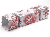 Medium Twist End Cracker - Red and White Snowflake | MeridianSP