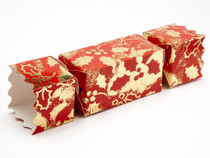 Medium Twist End Cracker - Red and Gold Holly| MeridianSP