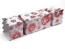 Extra Large Twist End Cracker - Red and White Snowflake | Meridian Speciality Packaging