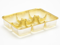 6 Choc Vac-Forme Tray - Gold | Meridian Speciality Packaging
