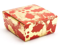 4 Choc Ballotin - Red and Gold Holly | Meridian Speciality Packaging