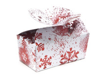 2 Choc Red and White Snowflake B'fly Ballotin | Meridian Speciality Packaging