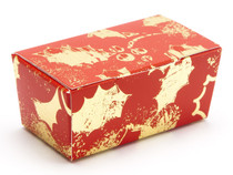 2 Choc Ballotin - Red and Gold Holly | Meridian Speciality Packaging
