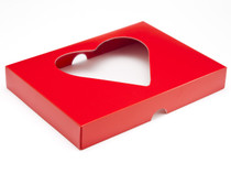 24 Choc Lid - Red with PVC Heart Window [LID ONLY] | Meridian Speciality Packaging