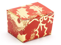 1 Choc Ballotin - Red and Gold Holly | Meridian Speciality Packaging