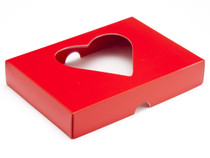 12 Choc Lid - Red with PVC Heart Window [LID ONLY] | Meridian Speciality Packaging