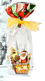 100x220 Hard Bottom Film Bag - Metallic Santa Balloon | MeridianSP