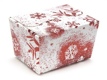 100g Ballotin - Red and White Snowflake | Meridian Speciality Packaging