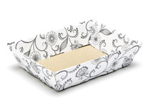 Small Shallow Card Tray Hamper - White with Floral Pattern | MeridianSP