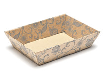 Kraft Floral Small Shallow sized Card Tray Hamper - Fold-up Tapered Gift Tray Ideal for Christmas or Gifting occasions