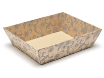 Kraft Floral Medium sized Card Tray Hamper - Fold-up Tapered Gift Tray Ideal for Christmas or Gifting occasions