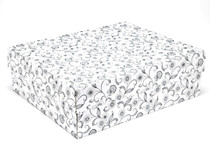 Large General Purpose Gift Box - White with Floral Pattern | MeridianSP