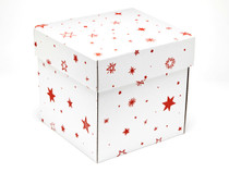 White with Red Stars pattern Large Cube sized General Purpose Gift Box - Gift Box - Larger Size Ideal for Christmas or Gifting occasions