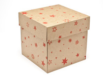 Kraft Stars Large Cube sized General Purpose Gift Box - Gift Box - Larger Size Ideal for Christmas or Gifting occasions