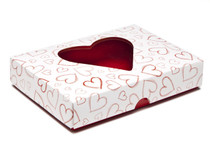 Light Hearts 12 Choc sized Heart Window Lid - Fold-up Gift Box Lid Ideal for Valentine's occasions or wedding or gifting