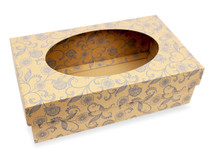 Kraft Floral Small sized General Purpose Gift Box with Oval Window - Gift Box - Larger Size Ideal for Christmas or Gifting occasions