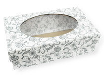 Small General Purpose Gift Box with Oval Window - White with Floral Pattern| MeridianSP