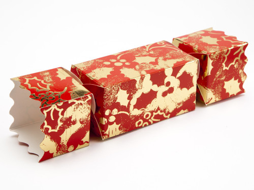 Medium Twist End Cracker - Red and Gold Holly | MeridianSP