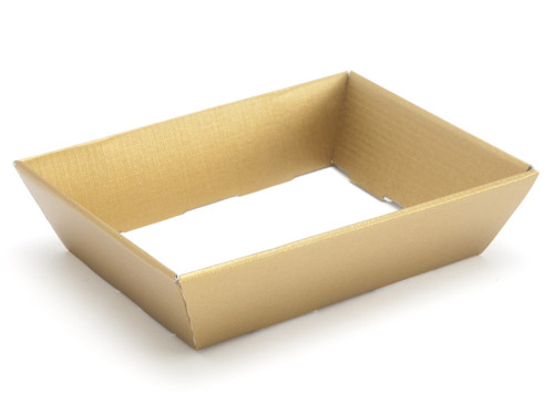 Hamper Tray - Small Shallow Card Tray Hamper - Deluxe Gold | Meridian Speciality Packaging