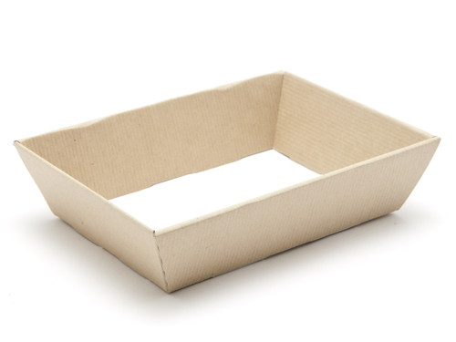 Hamper Tray - Small Shallow Card Tray Hamper - Premium Brown Ribbed Kraft | Meridian Speciality Packaging
